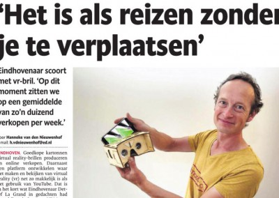 Artikel over VRmaster in het Eindhovens Dagblad