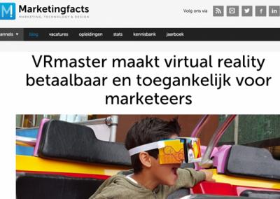 Artikel over VRmaster op Marketingfacts November 2015